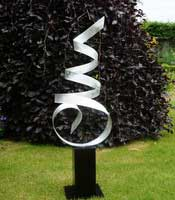 Abstract Garden Sculpture for Sale in Metal and Stone