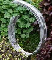 silver metal garden sculpture