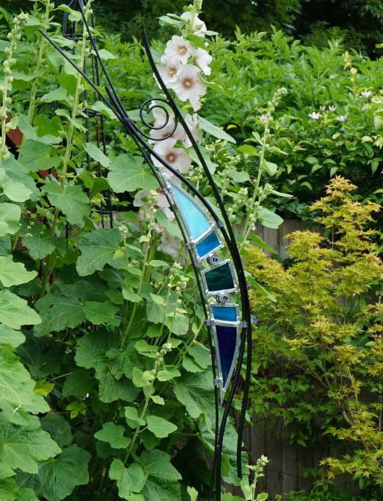 Modern Glass Art Leaded Stained Glass And Steel Sculpture